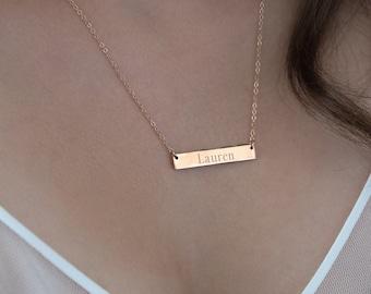 Name Bar Necklace . Custom Coordinates Neckace . Roman Numeral Necklace
