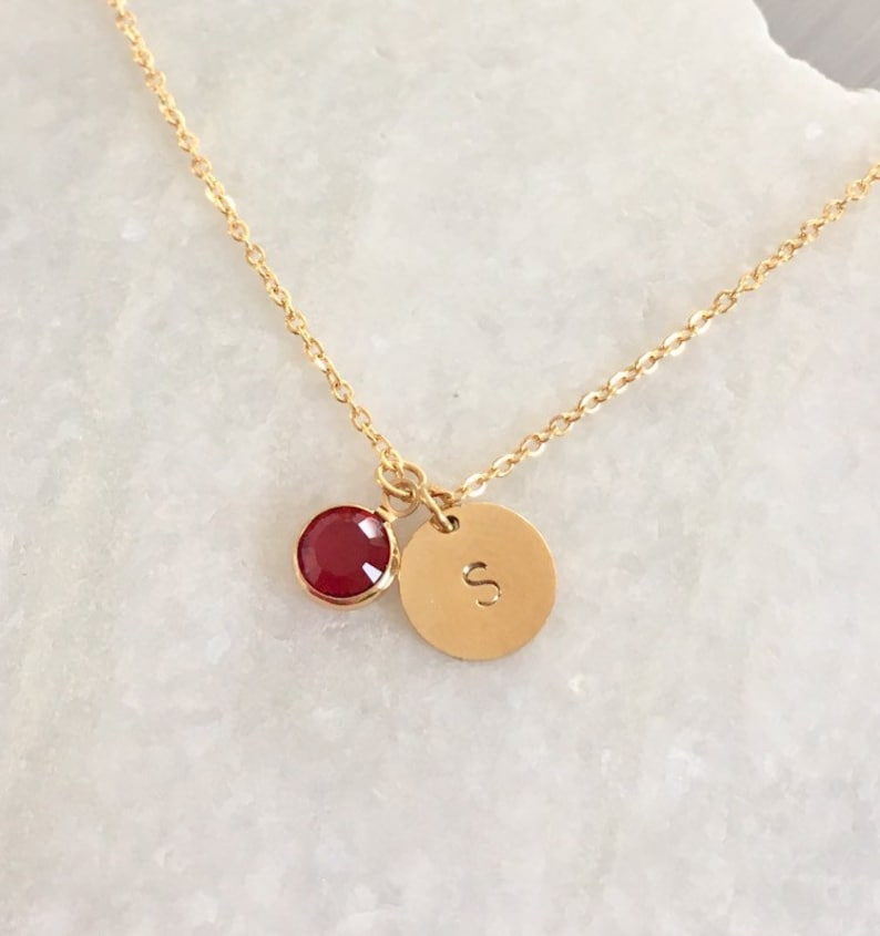Birthstone Necklace initial necklace circle necklace  image 0