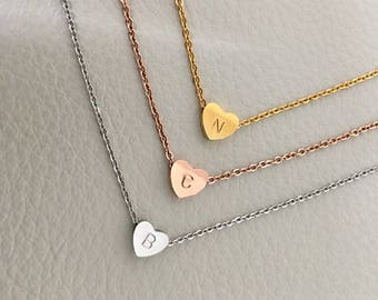 Initial Heart necklace  heart necklace, Bridesmaid Gift, Holiday Gift, Birthday gift, Initial necklace,