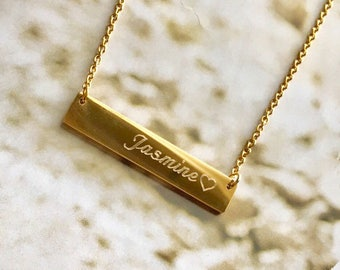 Mother's day gift,bridesmaid gift ,Personalized Name initial Bar Necklace,bar necklace, simple necklace, Gold Necklace