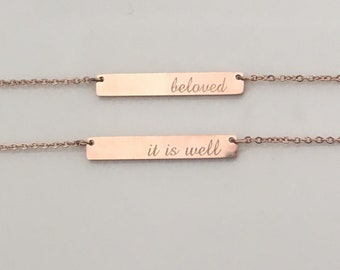 Mother's Day gift, personalized necklace, coordinate, roman numbers ,monogram bar necklace , bridesmaid gift, bar necklace.