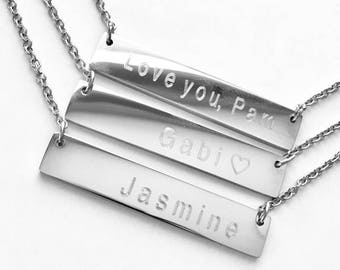 silver Bar Necklace, Personalized Necklace, initial bar, initial necklace,  Silver plated, bridesmaid gift,
