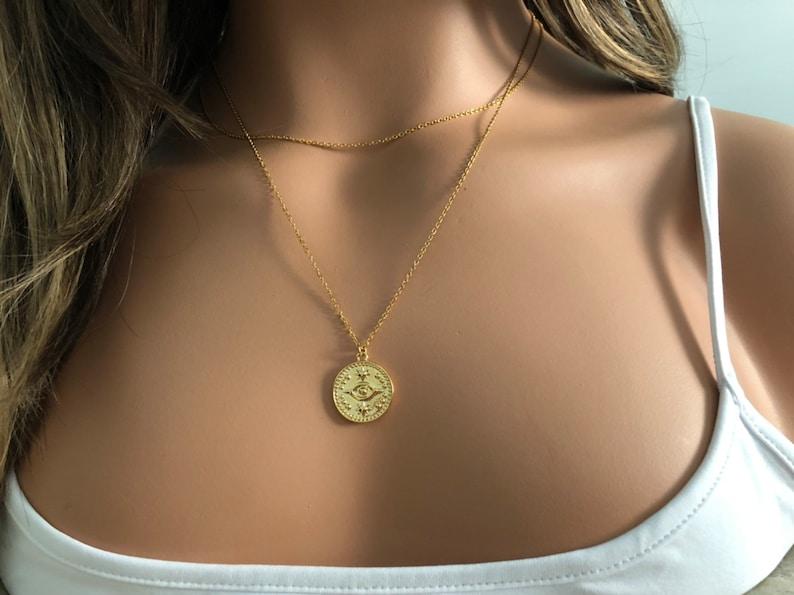 Evil Eye Pendant Evil Eye Charm,Evil eye coin charm evil eye necklace Gold coin necklace,