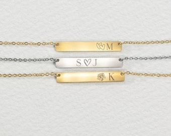 Birth Flower Initial bar necklace .  Bridesmaids Necklace . Zodiac Bar Necklace