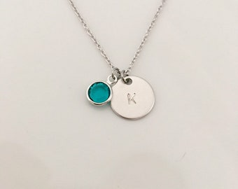 Initial disc, sterling silver , initial circle, gift for her, bridesmaid gift, necklace, sterling silver necklace