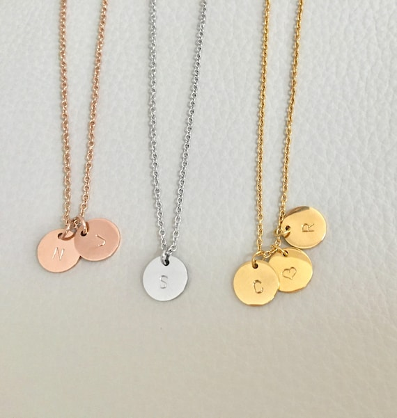 Initial Charm Necklace GoldSilverRose