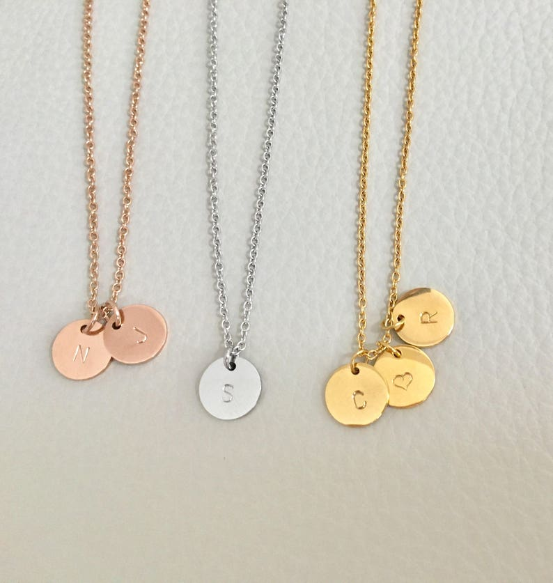 Initial necklace Initial coin necklace gold silver rose gold Rose/Simple-Stamp
