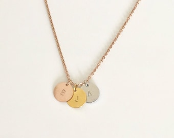 gold silver rose gold initial,disc initial necklace, circle initial necklace, 3 initial necklace,bridesmaid gift,