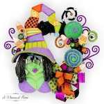 HALLOWEEN WITCH WREATH - Whimsical Halloween Wreath - Witch Wreath - Halloween Door Hanger-Sukie Witch-Halloween Decor-A Whimsical Home