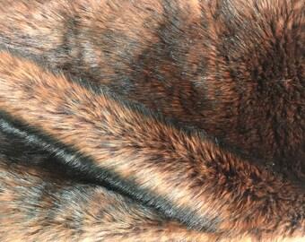 "Luxurious Genuine Tissavel Faux Fur Fabric Piece 23"" L X 56"" W, Brown"