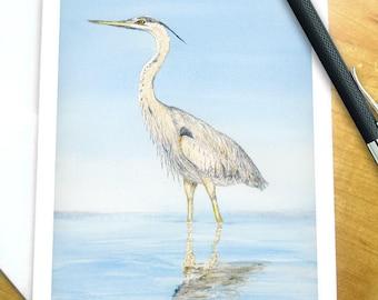 Blue Heron Watercolor Cards, Bird Lover Gift, Heron Stationery, Heron Note Cards Stationary Cards Bird Stationary Set, Watercolor Note Cards