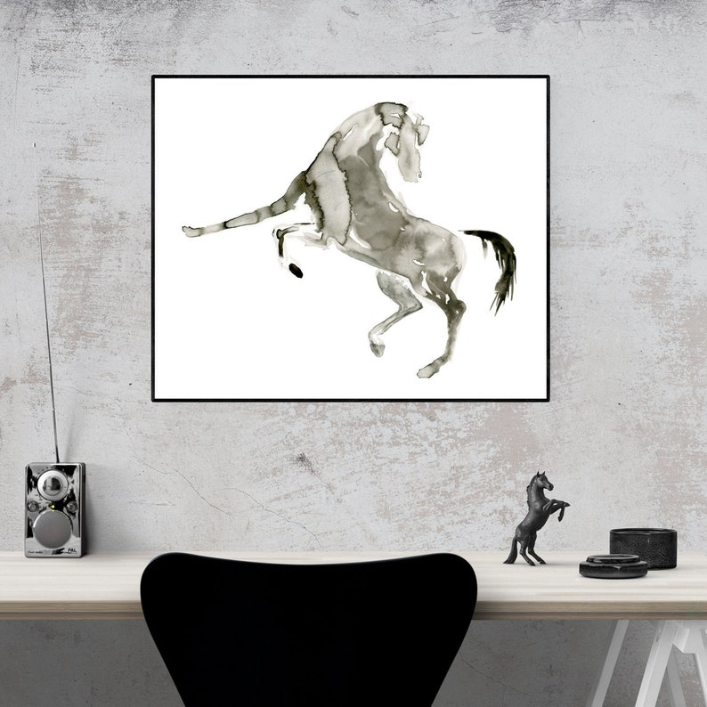 Black And White Abstract Horse Painting Horse Wall Art Watercolor Horse Painting Black And White Horse Art Horse Print Equine Art Print