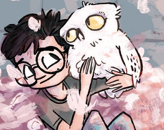 Harry Potter art illustration print IN THE OWLERY