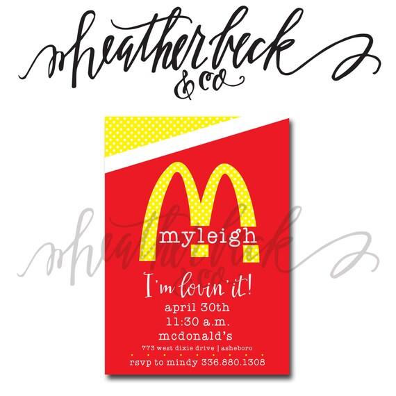 Mcdonalds Birthday Invitation Etsy