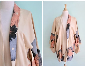 ef8db3a6f8bb Vintage 1950 s Pink and Blue Floral Haori Style Kimono