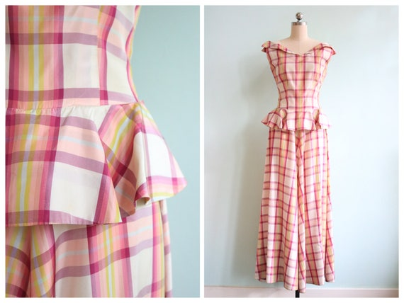 Vintage 1930s Pink Plaid Peplum Gown | Size Small - image 1