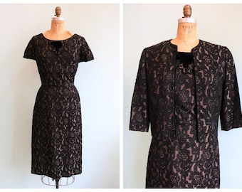 Vintage 1960's Black and Pewter Brocade Dress and Jacket   Size
