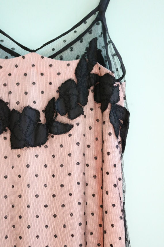 Vintage 1930's Black and Pink Polka Dot Mesh Gown… - image 3
