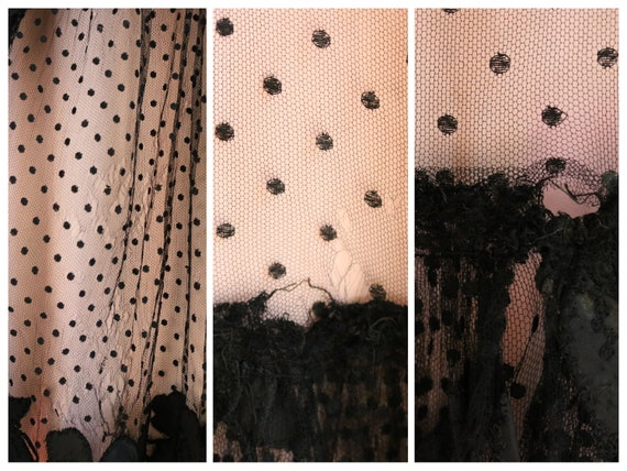 Vintage 1930's Black and Pink Polka Dot Mesh Gown… - image 7