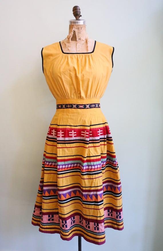 Vintage 1950's Seminole Color blocked Dress | Siz… - image 2
