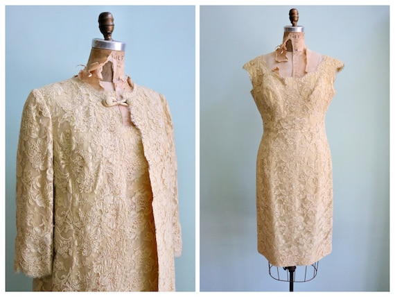 Vintage 1960's Buttery Lace Dress and Jacket Set |