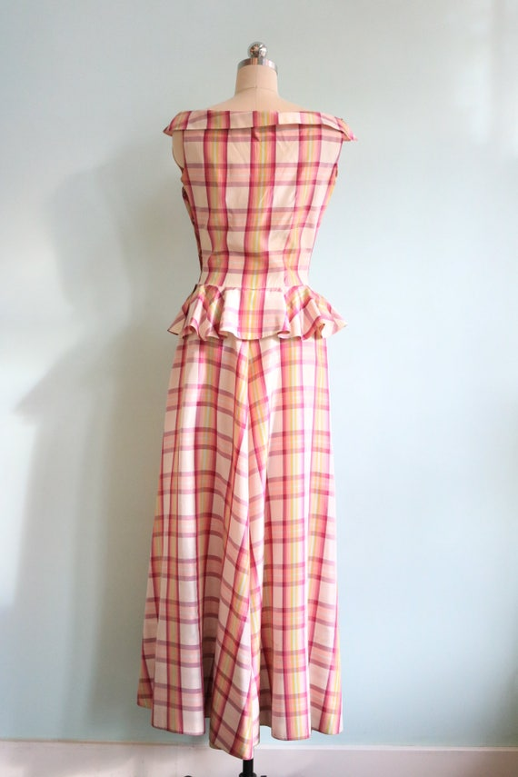 Vintage 1930s Pink Plaid Peplum Gown | Size Small - image 3