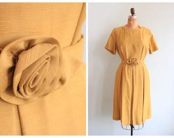 Vintage 1950's Yellow Raw Silk Dress | Size Medium