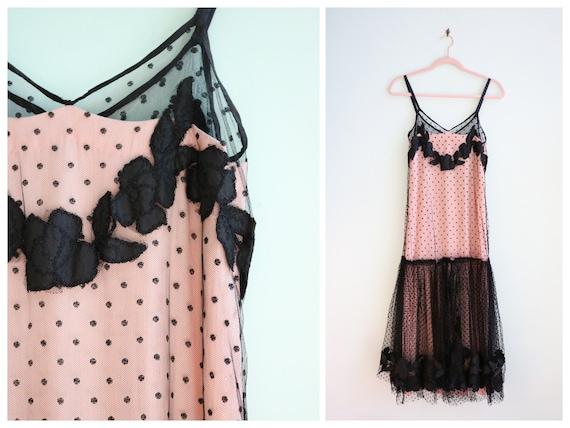 Vintage 1930's Black and Pink Polka Dot Mesh Gown… - image 1