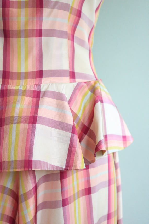 Vintage 1930s Pink Plaid Peplum Gown | Size Small - image 5