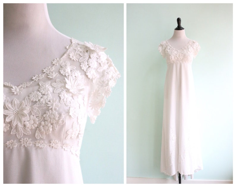 Vintage 1970s white linen floral applique wedding gown etsy