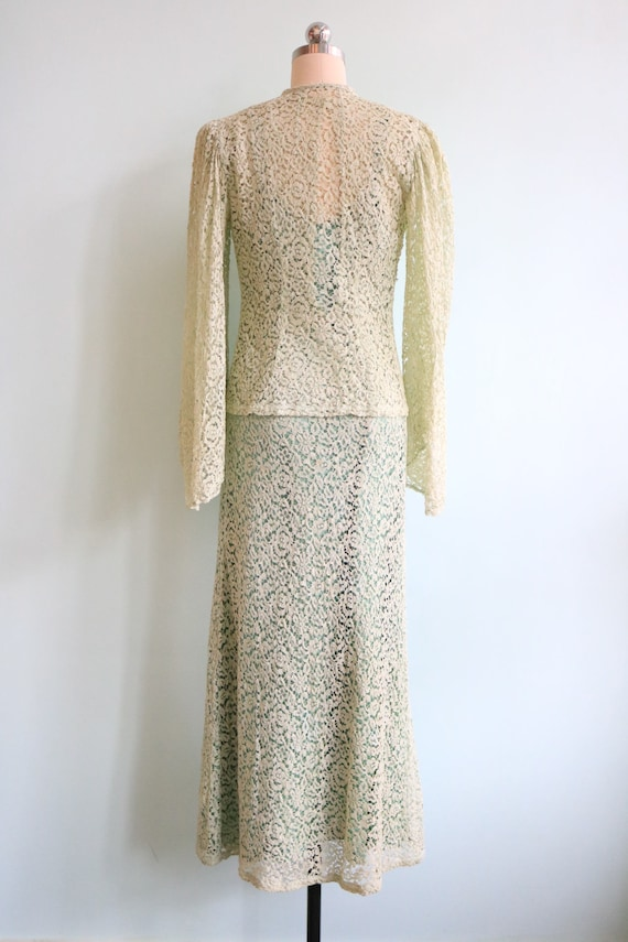 Vintage 1930s Mint Green Lace Dress And Jacket Size Small
