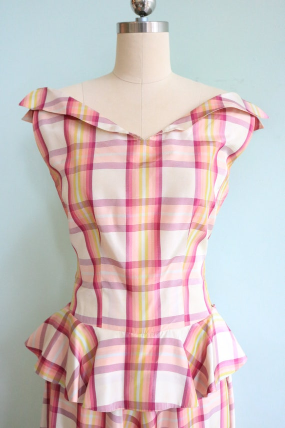 Vintage 1930s Pink Plaid Peplum Gown | Size Small - image 2