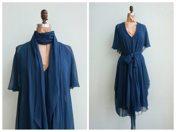Vintage 1970's Ocean Blue Chiffon Dress | Size XS/