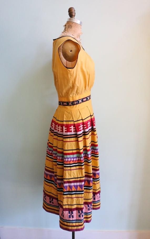 Vintage 1950's Seminole Color blocked Dress | Siz… - image 6