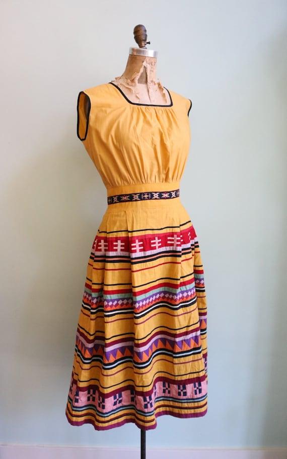 Vintage 1950's Seminole Color blocked Dress | Siz… - image 5