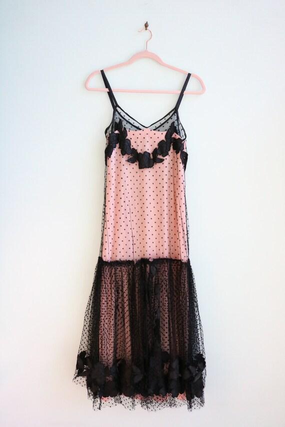Vintage 1930's Black and Pink Polka Dot Mesh Gown… - image 2