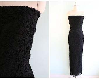 Vintage 1950's Black Lace Mermaid Style Gown | Size Extra Extra Small