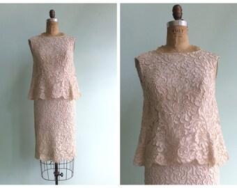 Vintage 1960's Soutache Lace Dress | Size Small