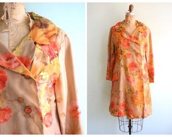 Vintage 1960's Floral Nylon Chiffon Jacket | Size Medium