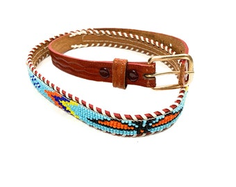 24a3bb983d4429 Vintage Retro Western Native American Aztec Style Beaded Leather Belt 34