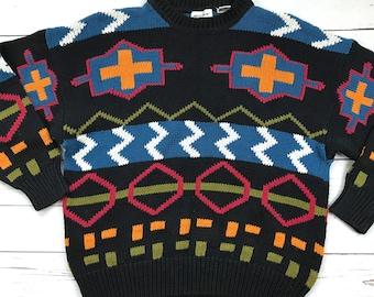 Vtg 90s Pierre Cardin Knit Colorblock Retro Sweater Large
