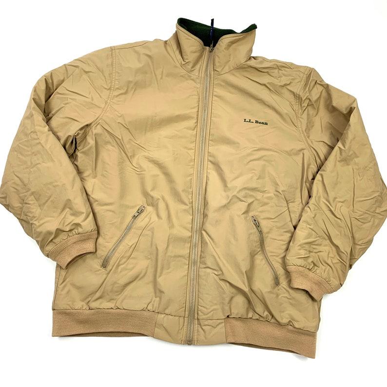 Vtg Ll Bean Retro Tan Fleece Lined Bomber Warm Up Jacket Mens Xl