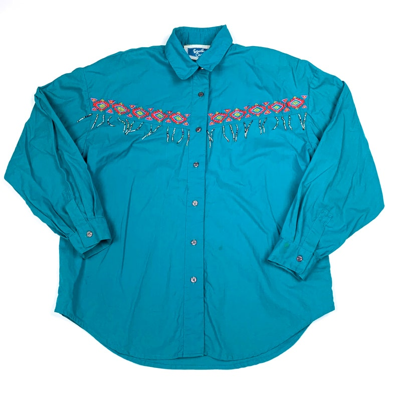 Vtg 90s Southern Canyon Western Retro Aztec Beads Button Down Shirt Women/'s Large