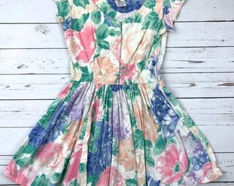 VTG 90s Rene Derhy PARIS Pastel Floral Kawaii French Tea Sun Dress Size Womens Small RARE