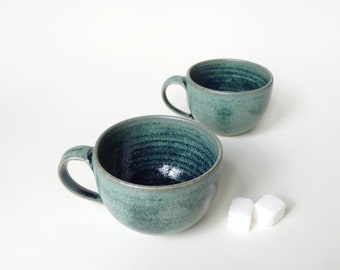 46326ae4688 Pair of Espresso Cups - Set of two blue green espresso cups - Handmade  ceramic coffee cups - Pottery coffee small cups