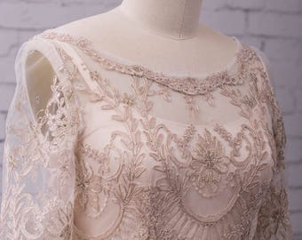 Lace Wedding Gown Wedding Dress with sleeves, buttons up back and train. vintage style, boho classic and simple. Katrina gown.