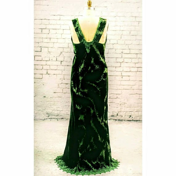Forest Green Velvet Evening Gown Wedding Dress Lace Detail Etsy