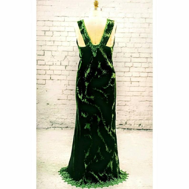 54c97b75f88 Forest green velvet evening gown wedding dress lace detail