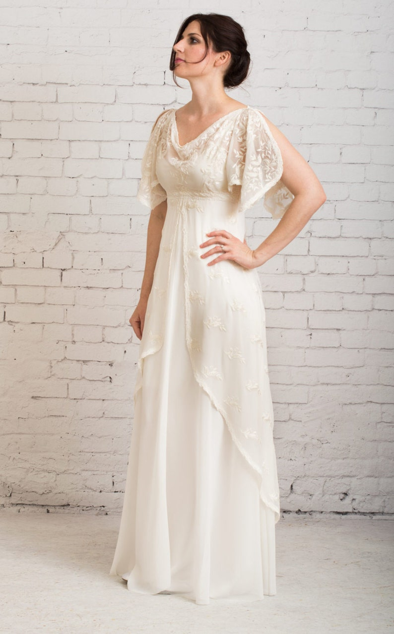 Casual Wedding Dress Simple Wedding Dress Rustic Wedding Dress Vintage Wedding Dress Wedding Dress With Sleeves Athena Gown