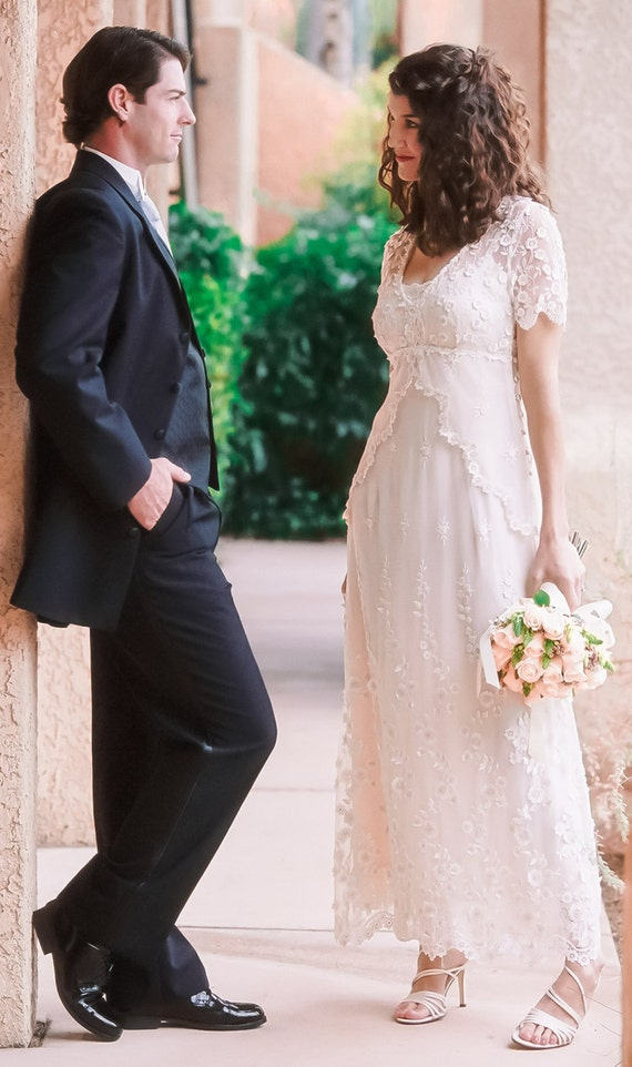 Lace Wedding Dress with embroidered tulle, cap sleeves and empire waist. Casual Wedding Dress. Backyard Wedding Dress. Plus sizes Available